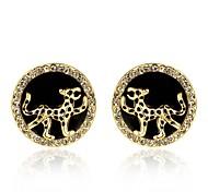 círculo de la moda y el tigre de oro aretes bañados en oro (oro) (1 par)