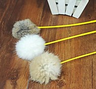 Lovely Rabbit Hair Ball Shaped Squeaking Playing Stick for Pet Cats(Random Colour)