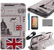 COCO FUN® UK Envelope Pattern PU Leather Full Body Case with Film USB Cable and Stylus for Motorala Moto G