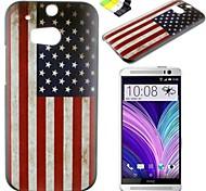 caso duro del patrón de la bandera americana PC y soporte para el teléfono durante una htc (M8)