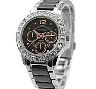 Woman's Ladies Round  Ceramic Black Watchband Water Resistant Quartz Watch FW830M