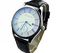 recurso de calendário dos homens rodada discar pu banda relógio de pulso de quartzo analógico (cores sortidas)
