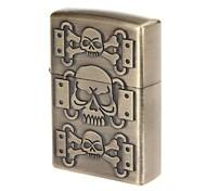 Pocket Vintage Skull Design Zinc Alloy Oil Lighter(Bronze)