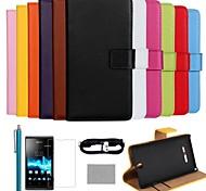 luxo cor sólida capa de couro genuíno de coco fun® com filme e cabo e stylus para sony xperia c1605 (cores sortidas)