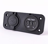 Motorcycle Auto Dual USB Charger Adapter With Voltmeter Socket