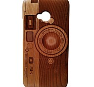 Kyuet Wooden Case Natural Handcrafted Cherry Wood Laser Engraving M9 Camera Cover Skin Cell Phone Case for Htc One M7
