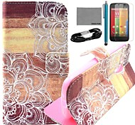 COCO FUN® Wooden Flower Pattern PU Leather Full Body Case with Film and USB Cable and Stylus for Motorala Moto G