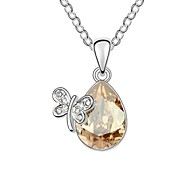 Lady Butterfly Lady's Short Necklace Plated With 18K True Platinum Crystal Golden Shadow Austrian Crystal Stones