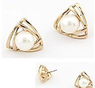 Triangular Pearl Earrings