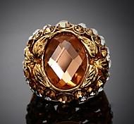 Women's European Style Fashion Personality Diamante Orange Diamond  Ring