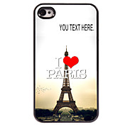 Personalized Case I Love Paris Eiffel Tower Design Metal Case for iPhone 4/4S