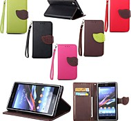 Leaves PU Leather Full Body Case with Card Slot, Stand and Strap for Sony Xperia Z1 (Assorted Colors)