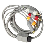 1.8M 5.904FT Wii 30Pin Male to S-Video + 3RCA Male Gold-Plated Shield HD Video Audio TV Display Cable for Wii