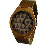 Men's Wooden Watch Bamboo Case Genuine Cow Leather Strap Classic Vogue Casual Quartz Watch