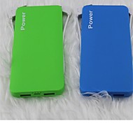 8000mAh Dual USB Portable Power Bank with Cable for iphone 6/6 plus/5/5S/Samsung S4/S5/Note2(Assorted Colors)