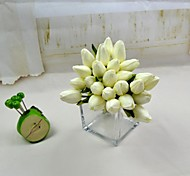 "Decorative Flowers White Red 12 heads Real Touch Tulip Bundle Stem 10.23"" for Home Decoration"
