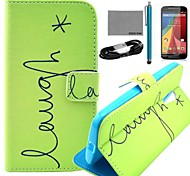 COCO FUN® Green English Pattern PU Leather Full Body Case with Film and USB Cable and Stylus for Motorala Moto G2 XT1063