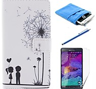 Dandelion Pattern PU Leather Full Body Case with Stylus and Protective Film and Soft Pouch for Samsung Galaxy Note 4