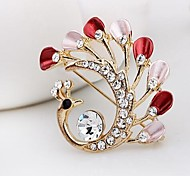 Fashion Diamond Peacock Alloy Brooch (1pc)