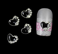 10pcs Black Heart Accessories For Nail Tips DIY Alloy Nail Art Decoration