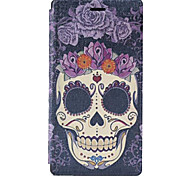 Skull Pattern PU Leather Case with Stand and Card Slot for Sony M2 (S50h)