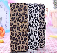 Leopard  Pattern PU Full Body Case with Strap with Stent Wallet Card for iPhone 4/4S(Assorted Colors)