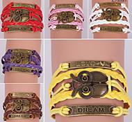 Eruner®Leather Bracelets Multilayer Alloy Vintage Owl Charms Handmade Bracelet