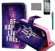 COCO FUN® Free Life Pattern PU Leather Case with Screen Protector and Stylus for iPhone 4/4S