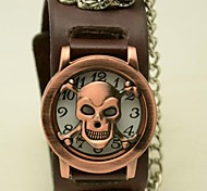 Men's  Round Leather strap Skull flip watch(Assorted Colors)