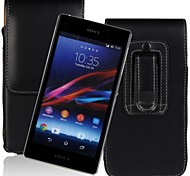 Genuine PU Cowhide Leather Flip Wallet Vertical Case with Belt Clip for SONY Xperia Z1