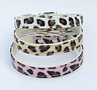White/Pink/Gold Retractable PU Leather Collars For Dogs/Cats