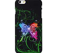 caso difícil borboleta dança padrão de plástico e tela de alta protetor transparência para iphone 6 mais