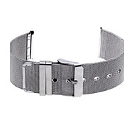 24mm Durable Silver Steel Watch Band Strap Pin Buckle Adjustable