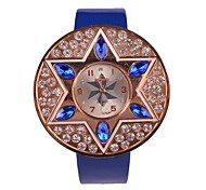 Women's Watch Fashion PU Leather Simulation Diamond Quartz Watch(Assorted Colors)