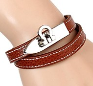 European And American Fashion Embossed Leather Two Laps The Car Line Stainless Steel Buckle Leather Bracelet (2 colors)
