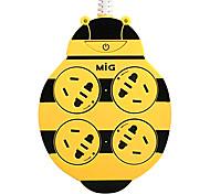 enchufe de extensión abeja mi gsp-4100-0 con 2m gb cable de alimentación enchufe de CA amarilla