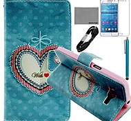 COCO FUN® Floral Heart Pattern PU Leather Case with Film and Stylus for Samsung GALAXY Grand Prime G530