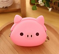 Pink Pig Pattern Silicone Change Purse