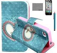 COCO FUN® Floral Heart Pattern PU Leather Case with Screen Protector and Stylus for iPhone 4/4S