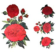 1 Pcs Waterproof  Big Picture Posted Back Red Flower  Pattern  Tattoo Stickers