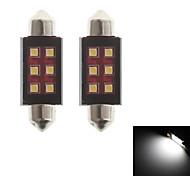 zweihnder festón 41mm 6w 550lm 6000-6500k 6xsmd 2323 llevó el bulbo de la luz blanca de la lámpara de lectura (12-24, 2 piezas)