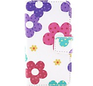 Sunflower Flower Pattern PU Leather Full Body Cover with Protective Film and Stylus for iPhone 4/4S