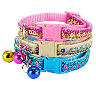 Cat / Dog Collars Blue / Pink / Gold Nylon
