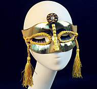 Golden Plating Women's Carnival Mask with Tassels