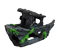SICHONG Rockery 04 The Wrecked Wood Ship Decoration for Fish Tank Aquarium