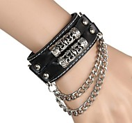 European And American Punk Rock Through The Car Line Pipe Chain Leather Bracelet (Black)