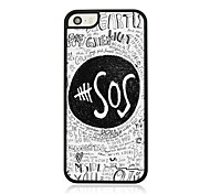SOS Sign Leather Vein Pattern Hard Case for iPhone 5/5S