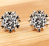 925 Sterling Silver Earrings Sparkling Snowflake