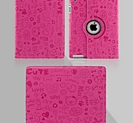 High Quality  360 Degrees of Rotation Little Witch Pattern PU Protect Holster with Stand iPad 2/3/4