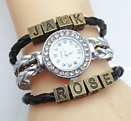 Fashion Handmade Women's Watch Crystal JACK ROSE Leather Weave Band